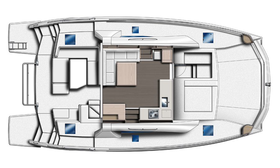 Leopard 43 Power Catamaran Fly Bridge Layout