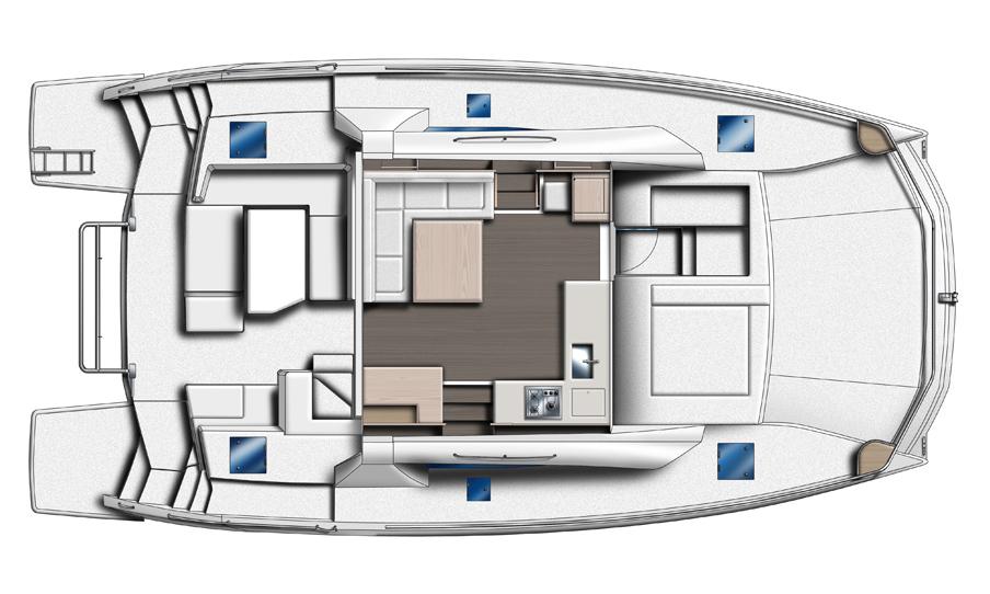 Leopard 43 Power Catamaran Fly Bridge Layout