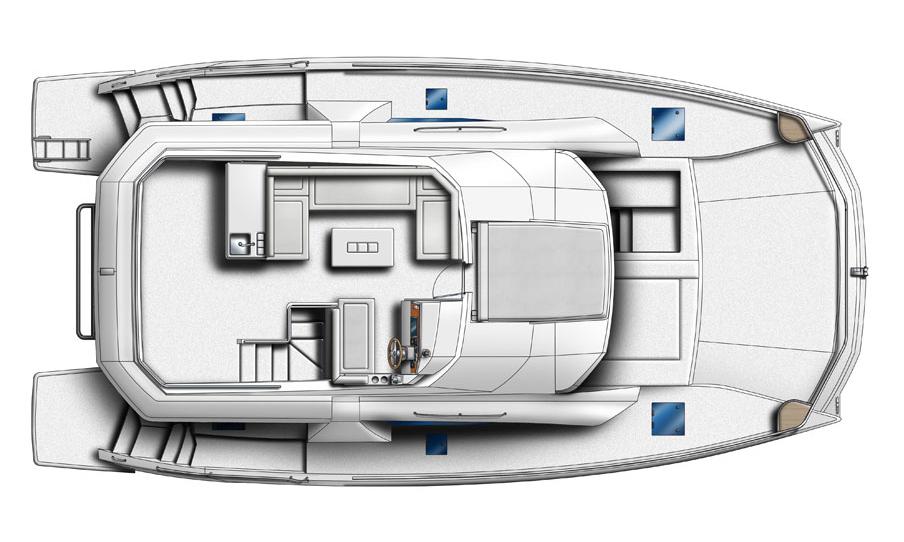 Leopard 43 Power Catamaran Fly Bridge & Deck