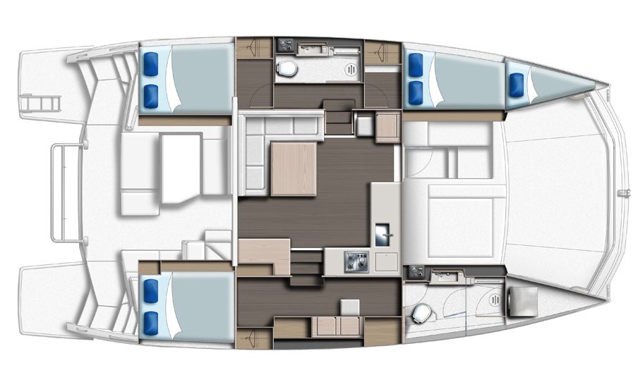 Leopard 43 Power Catamaran Interior Layout